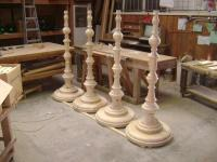 Large Wooden Floor Lamps Turned In Raw Pine